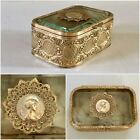 Antique French Jewelry Trinket Box Casket Beveled Glass Tufted Art Nouveau Lady