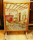Antique Wool Needlepoint Wood  Glass Frame Fireplace Screen 24 x 1575 Inch