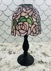 ROSES TIFFANY STAINED GLASS TEA LIGHT CANDLE LAMP RARE RETIRED