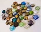 Lot of 48 Assorted Lampwork Foil Core Glass Beads Gold Pink Blue Green