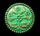 Lovely Green Victorian Glass Antique Button with Gold Luster7 8