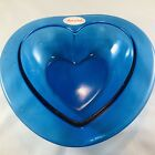 COBOLT BLUE HEART GLASS DISH MADE IN ITALY 9L x 10WX6D BEAUTIFUL