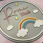 Personalised rainbow name sign Rainbow Birth Name Plaque ANY NAME  COLOUR