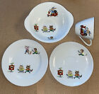 Childs Noritake Breakfast Set Rabbits Monkeys Pigs  Moped Cup Saucer Plate Bowl