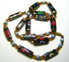 24 Art Glass Millefiore Necklace Black Beads with Lots of Color Vintage Italy