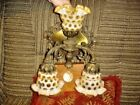FENTON WALL LAMP WITH 3 Honeysuckle Opalescent coin dot  GLASS SHADES