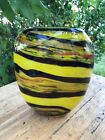 Hand blown murano art Glass With Lemon Yellow Stripes Made In Italy A77
