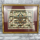 Antique Carousel Cross Stitch Completed Kit in Wood Frame Vintage 15 X 19 Inch