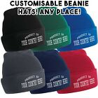 Country Custom Beanie Hat Gift Any Place City Customisable Autumn Winter Bespoke
