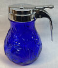 Mosser Art Glass Inverted Thistle Cobalt Syrup Jar With Metal Top