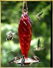CRYSTAL SPIRAL FACETED GLASS RED HUMMINGBIRD FEEDER HUMMERS LOVE IT FREE SHIP
