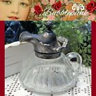EAPG Glass Syrup Pitcher Fancy Scrolled Relief Silverplate Lid Cottage BB Chic
