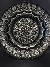 Decorative Large Black Glass Bowl With Silver Metallic Back Silver Details 13