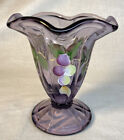 Fenton Art Glass Hand Painted Grape Arber On Violet Footed Vase 2005