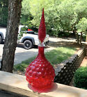 Red Hobnail Genie Bottle Glass Decanter 165