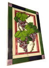 Stained Glass Suncatcher Grapes Purple Leaves Wine USA 20 x 14 Large Hanging