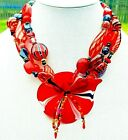 LAMPWORK GLASS NECKLACE Handmade Beads FLORAL PENDANT Red Black STUDIO BOUTIQUE