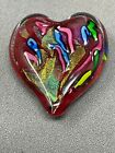 GES Glass Eye Studio Cased Dichroic Colorful Art Glass Heart Paperweight