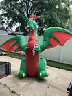 12 Ft LED Air Blown Inflatable Animated Dragon With Santa Hat Candy Canes