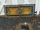 ANTIQUE VICTORIAN DOUBLE HUNG STAINED GLASS WINDOW WITH JEWELS