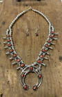 Native Navajo Squash Blossom Coral Sterling Necklace  Earrings Stamped PG