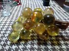 Vintage LARGE Cluster Lucite GLASS brownish GRAPES on Driftwood Mid Century