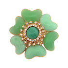 Chris Crouchs Moans Couture Poured Glass Gripoix Green Flower Brooch Pin