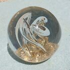 Vintage Large Controlled Art Glass Long Bubble  Gold Flecks Paperweight VGC