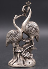 Exquisite Tibetan Silver Red Crowned Crane Statues