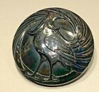 STUNNING ART DECO ROOSTER BUTTON GUNMETAL LUSTER Black Glass large 1 3 8