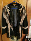 3B West by Tansmith Black Suede Leather Fringe Beaded Native American Jacket L