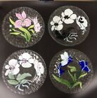 Set of Four Sydenstricker Signed Fused Art Glass Floral Plates Cape Cod MA