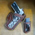 1911 COMMANDER OWB HAIR ON COW HIDE LEATHER HOLSTER WITH MAG POUCH