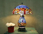 Tiffany Style Stained Glass Blue Dragonfly Table Lamp W Illuminated Base New