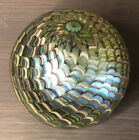 Vintage Orient and Flume Millefiori Iridescent Art Glass Paperweight Signed 1980