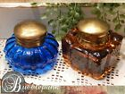 Antique Blue  Amber Color Glass Inkwell Lot 2