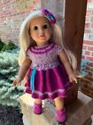 Fits American Girl Dolls Hand Knitted Mulberry Elephant Dress  Hair Bow Clip