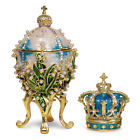 """White Lilies of the Valley Faberge Egg replica: Extra Large 5.9""""  Faberge Crown"""