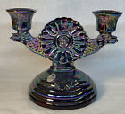 Fenton One Piece Candle Stick Viking Design In Plum Carnival 1998