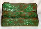 TIFFANY STUDIOS PINE NEEDLE 2 COMPARTMENT LETTER RACK GREEN GLASS PATINA