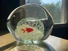 Vintage Art Glass Murano Italy Free Form Gold Fish Disc Paperweight Sculpture