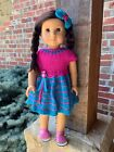 Fits American Girl Dolls Hand Knitted Pink Turquoise Owl Dress No Doll Shoes