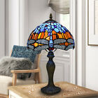 Tiffany 10 inch Table Lamp Dragonfly Style Stained Glass Handcraft Multicolor