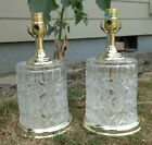 Pair Vtg Hollywood Regency Floral Cut Crystal Glass  Brass Table Lamps 13