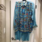 DIANE GILMAN Womens 100 Silk 2 Piece Outfit Blouse and Pants Size L