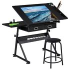 Drafting Table for Artists Drawing Art Desk Adjustable Glass Top w 2 Drawers