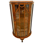 Art Deco China Cabinet Curio Curved Two glass shelves Locking Door