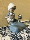 Lladro Figurine 5032 Dog and Cat 1997 Young Girl