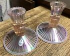 Fenton Glass Iridescent Pink Taper Candle Stick Holders Pair 2 Mint w Tag
