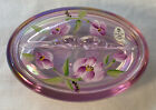 Fenton Art Glass Hand Painted Tulip Delight On Rosemilk Carnival Oval Candy Box